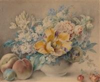 nature morte de fleurs et de fruits by jacques-andré portail