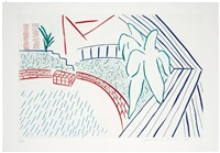 my pool and terrace (from eight by eight to celebrate the temporary contemporary portfolio) by david hockney
