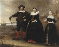 a group portrait of the family of otto van vollenhoven and apollonia bogaert standing on the beach with the armed merchantman de geweldige in the background by dirck dircksz van santvoort