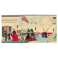tokyo tsukiji kaigun sho kei kikyu shiken ju seiyokan chobo zu - the trial balloon launch at the naval academy training ground at tsukiji (triptych, various sizes, oban tate-e) by utagawa yoshitora