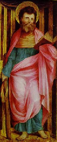saint james the less standing in a niche by romanino girolamo romani