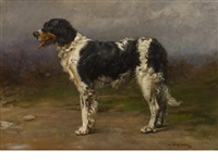portrait of a gun dog by william frank calderon