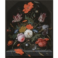 a still life with peonies, roses, parrot tulips, morning glory, an iris and poppies in a glass vase set within a stone niche and caterpillars, a snail, a bee and a cockchafer on the ledge below by abraham mignon