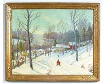 winter along the river town by william john krullaars