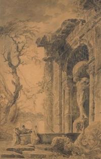 lavandières près d'une fontaine dans les ruines d'un temple antique by hubert robert