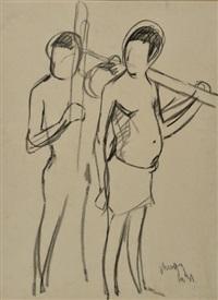 les hommes au travail et deux chasseurs africains by maurice le scouezec