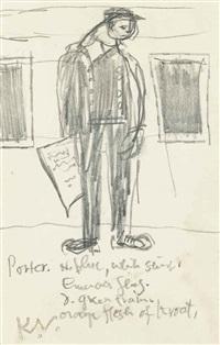 railway porter; man selling newspapers; head studies (3 works) by keith vaughan