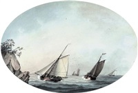 a crowded cutter and other shipping off a rocky headland by samuel atkins