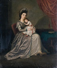 portrait of a mother and her child by david allan