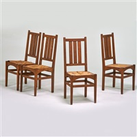 set of four side chairs, #353, each with three vertical back slats, eastwood, ny by gustav stickley