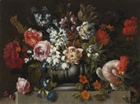 still life of flowers in a stone urn with a parrot by gaspar pieter verbruggen the younger