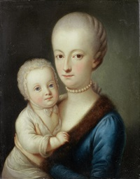portrait of a gentleman, half-length, wearing the order of the golden fleece; and portrait of a lady, half-length, in a blue dress and fur mantle, holding her child (pair) by carl josef alois agricola