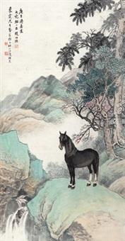 大宛良驹 立轴 纸本 by wang kun and zhao shuru
