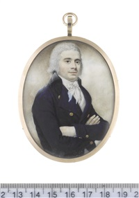 a gentleman, his arms folded, wearing blue coat with black collar, white waistcoat, chemise, stock and tied cravat, his hair powdered by john russell