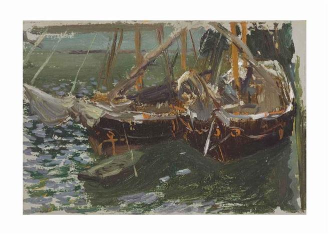 barcas en el puerto (boats in port) by joaquin sorolla y bastida