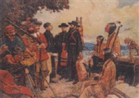 father hennepin, jesuit priest, taking leave of la salle to discover the headwaters of the mississippi by claude w. gray
