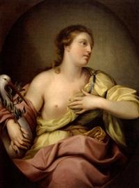 portrait de femme à la cigogne by andries cornelis lens