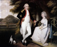 portrait of colonel william sydenham wearing uniform with his wife amelia wearing a white dress by robert home