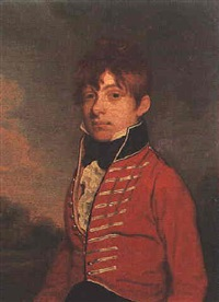 portrait of david harriott, aged 17, standing in a landscape wearing a uniform by richard livesay