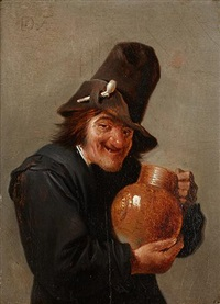 portrait d'un homme tenant une cruche by david teniers the elder