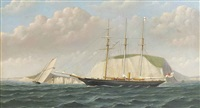 a steam yacht and a racing schooner off the needles by w.l. iddes