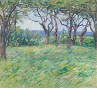 landscape with trees by charles salis kaelin