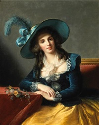 a portrait of a lady, seated (denise duvrille ?) by marguerite gérard