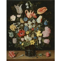 still life of roses, tulips, a white lily, poppy anemones, narcissi, carnations, columbine, hyacinth, snowdrop, cyclamen, fritillary, cornflower, lily-of-the-valley, crocus, forget-me-not by isaac soreau