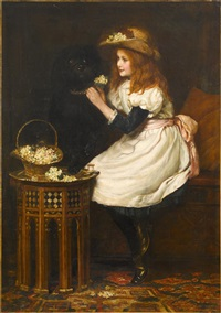young girl with her dog by american school