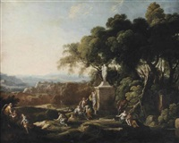 females making offerings to a statue of ceres in a wooded landscape, a village and mountains beyond by pierre antoine patel