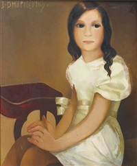 portrait of a young girl in a white dress by lydia dmitrievsky