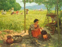 sunday morning going to town by fernando amorsolo