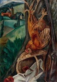 nature morte dans un paysage du lot ou nature morte au coq by andré favory