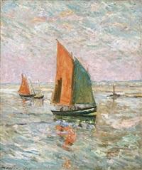 bateaux de pêche à l'entrée du croisic by maxime maufra