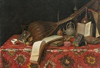 natura morta con libri, liuto e tappeto by cristoforo munari