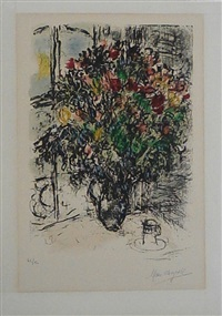 le bouquet rouge by marc chagall