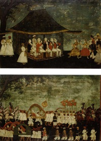 sir john dalling and fellow officers watching a nautch (+ sir john dalling and fellow officers in procession ; 2 works) by indian school-tanjore (18)