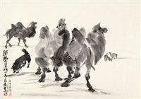 沙漠领航 镜心 纸本 by huang zhou