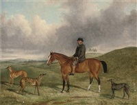 "portrait of henry beale esq., on a hunter, with his greyhounds, including ""sampler"" and ""sapphire"", in an extensive landscape by george henry laporte"