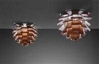 pair of 'artichoke' ceiling lights by poul henningsen