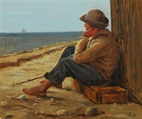 coastal scene with a boy sitting on a fish box by anton laurids johannes dorph
