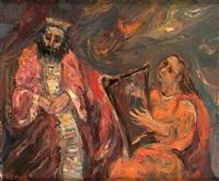 david jouant de la harpe devant le roi sa?l by yitzhak frenkel-frenel