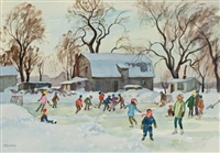 young skaters, ste-anne-de-bellevue by henry john simpkins
