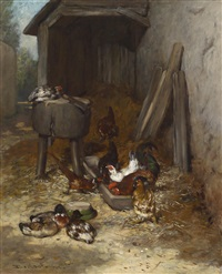hühner im stall by philibert-leon couturier