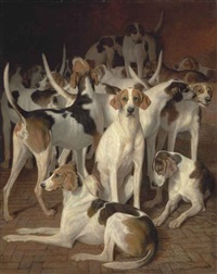 hounds in a kennel by jacques-laurent agasse