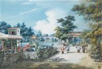 houqua's garden on honan island (+ 2 others; 3 works) by youqua