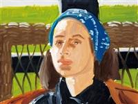 blue scarf by alex katz