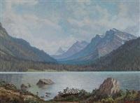 rocky mountain lake scene by mario moczorodynski