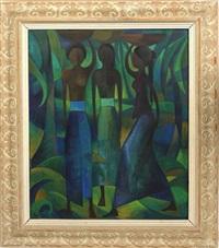 drei balinesische damen, auf dem kopf tragende körbe, bekleidet mit langen wickelrock (tuch) by han snel