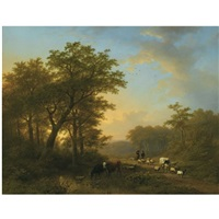 herdsmen with cattle on a path in a wooded landscape by johan b. klombeck & eugene j. verboeckhoven